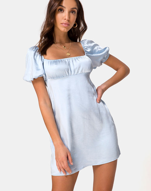 Purla Mini Dress in Satin Powder Blue by Motel