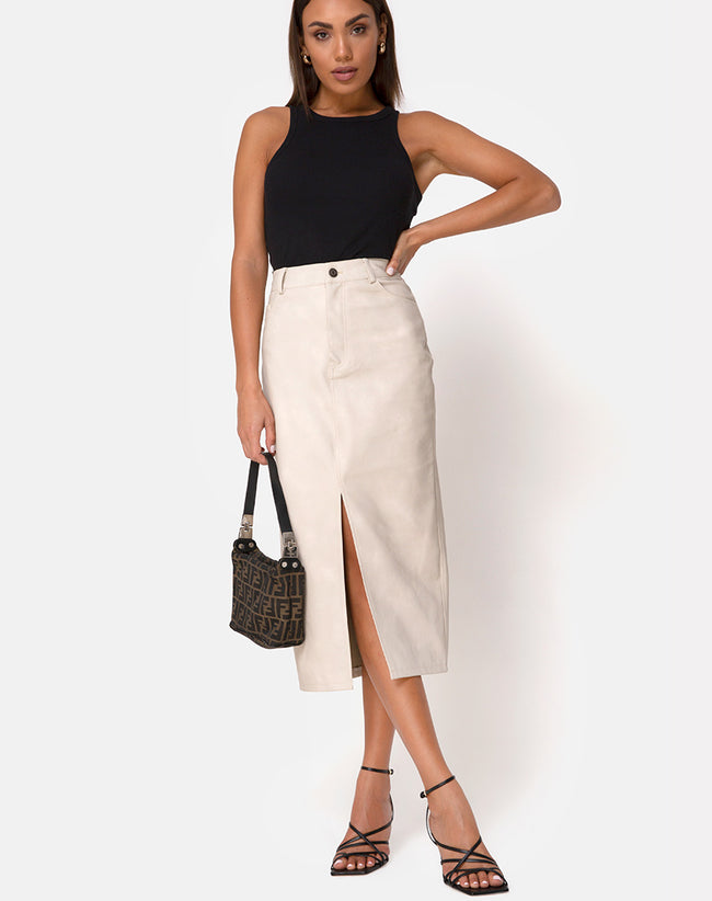 Pyra Midi Skirt in PU Stone