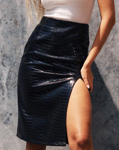 Sika Midi Skirt in PU Croco Black
