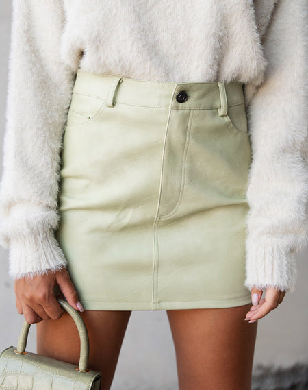 Wren Mini Skirt in Pu Matte Grey by Motel