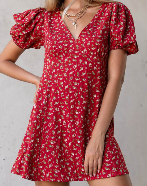 Elfira Dress in Falling for You Floral Red by Motel