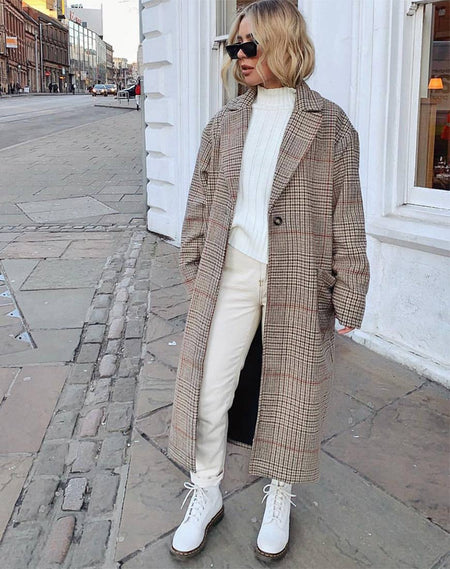 Teddy Coat in Brown Match Check by Motel