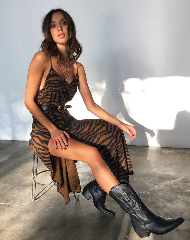 Hime Maxi Dress in Animal Drip Brown