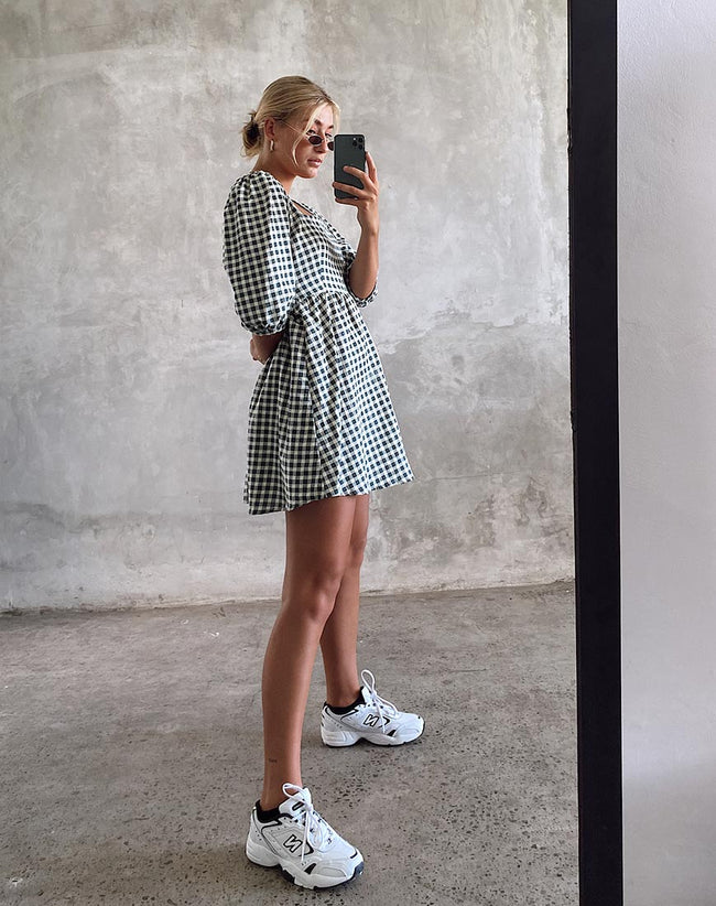 Kezie Skater Dress in Gingham Cream by Motel