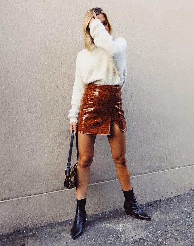 Wren Mini Skirt in PU Croco Brown