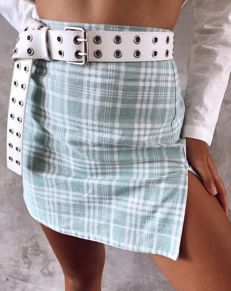 Rinka Mini Skirt in Table Cloth Neo Mint by Motel