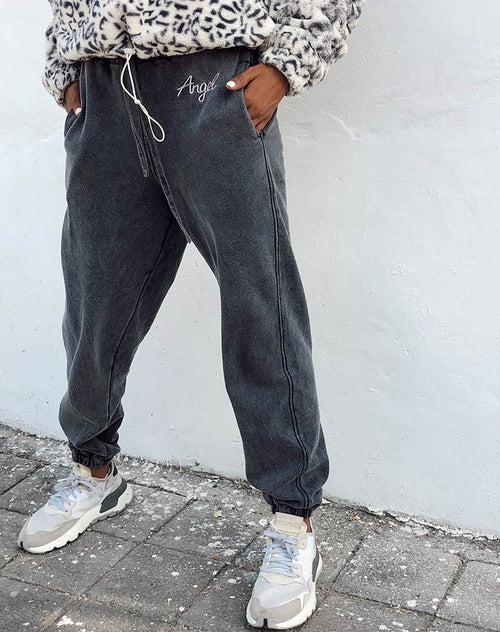 "Basta Jogger in Acid Washed Black with ""Angel"" Embro by Motel"