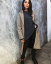 Duster Longline Coat in Glenn Check Natural