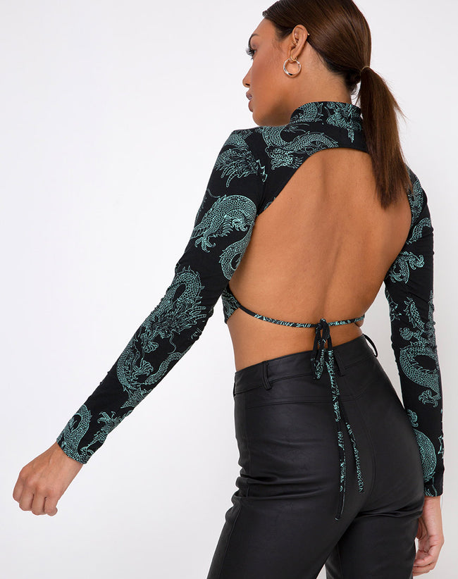 Quelia Top in Dragon Flower Black and Mint
