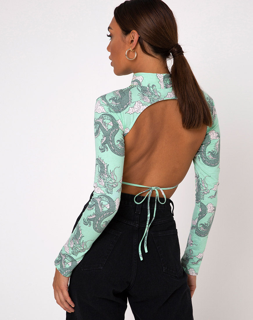 Quelia Crop Top in Chinese Dragon Neo Mint by Motel 5