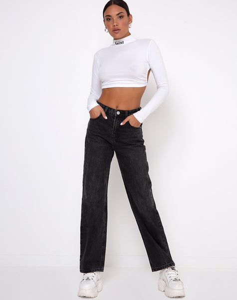 Quelia Crop Top in White 'Saint' Embro by Motel