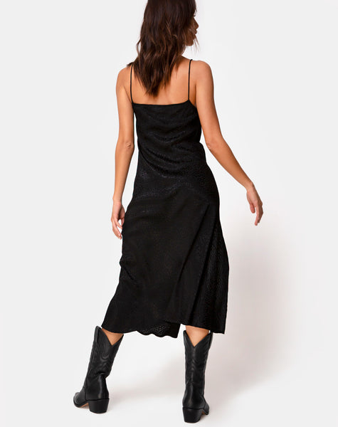 Quinty Midi Dress in Satin Cheetah Black