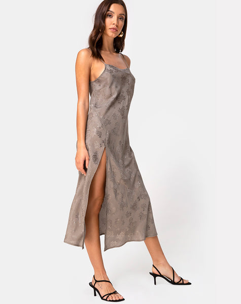Quinty Dress in Satin Rose Silver Grey by Motel