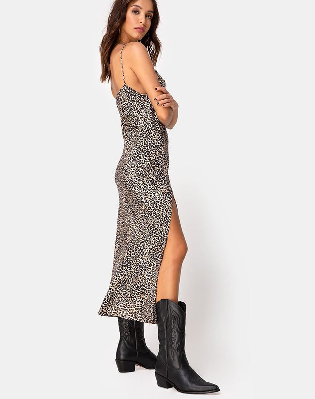Quinty Dress in Rar Leopard Brown by Motel