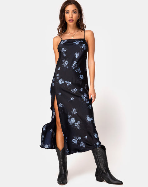 Quinty Dress in Black Mono Flower by Motel