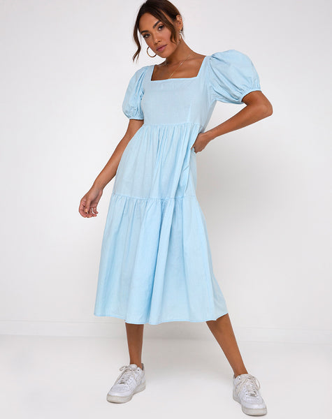 Rachel Midi Dress in Sky Blue by Motel
