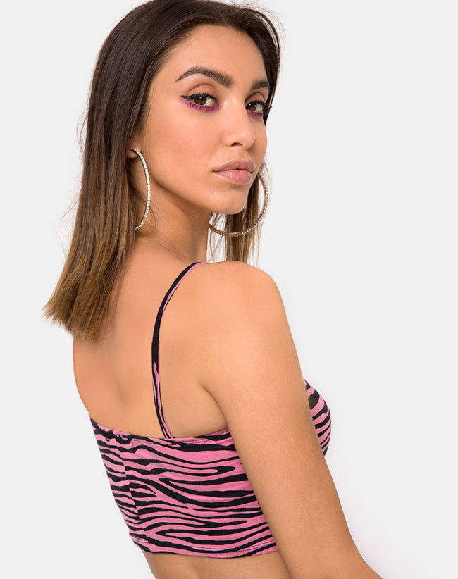 Ramo Bandeau in Zip's Zebra Pink by Motel