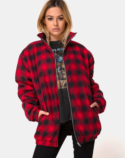 Raven Jacket in Plaid Red Black by Motel