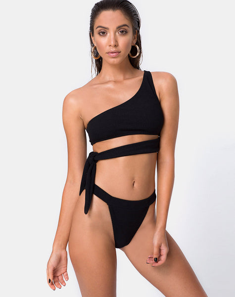Rawlins Bikini Top in Crinkle Rib Black by Motel
