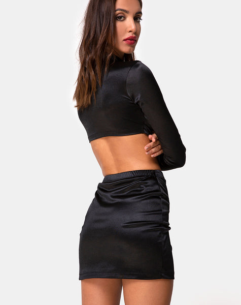 Reblit Skirt in Black by Motel