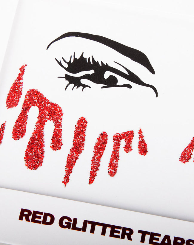 Red Blood Glitter Tear Sticker by Motel