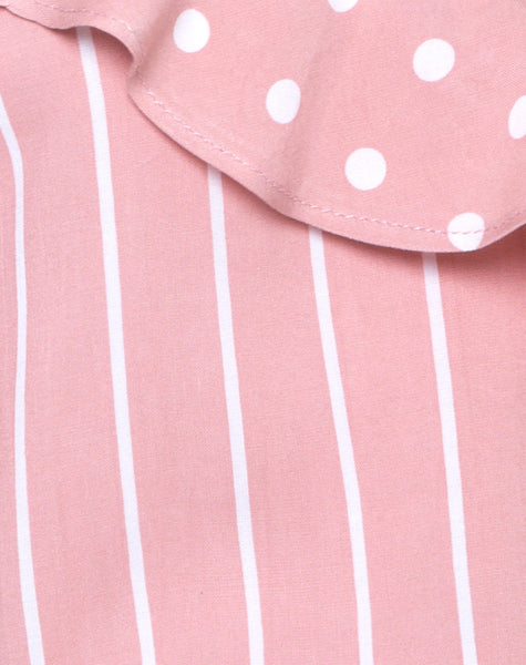 Reilly Cold Shoulder Bodice in Spot Stripe Pink and White