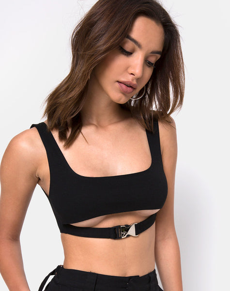 Reka Crop Top in Black with Silver Buckle