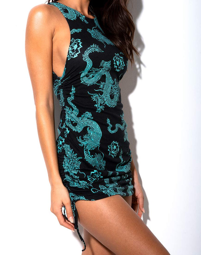 Ardilla Bodycon Dress in Dragon Flower Black and Mint by Motel