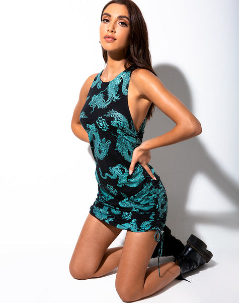 Ardilla Bodycon Dress in Dragon Flower Black and Mint