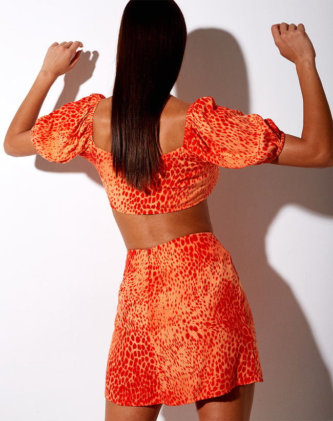 Sheny Mini Skirt in Gradient Cheetah Tangerine