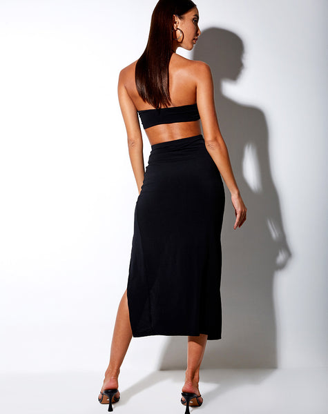 Maxel Midi Skirt in Polycrepe Black