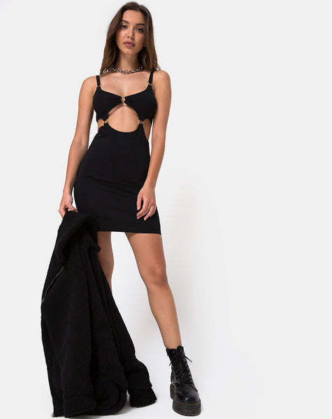 Jezabel Cut Out Dress in Black By Motel