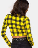 Rhala Crop Top in Winter Plaid Yellow By Motel