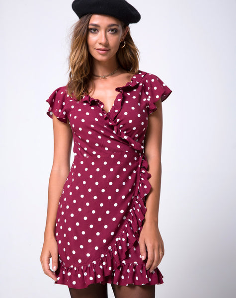 Rica Dress in Medium Polka Wine by Motel