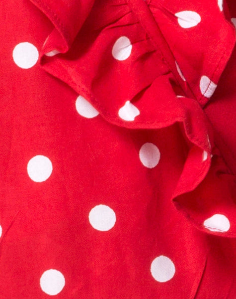 Rica Skater Dress in Medium Polka Red and White by Motel