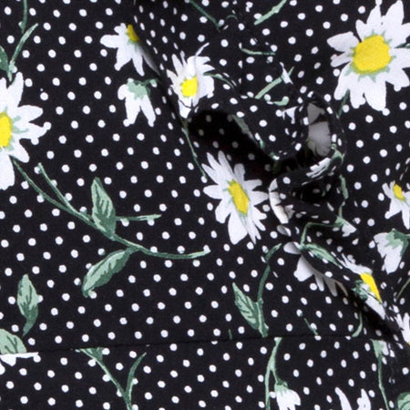 Rica Skater Dress in Polka Daisy Black by Motel
