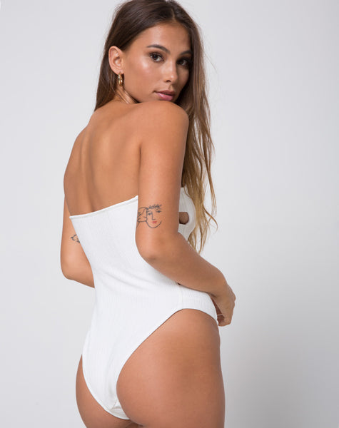 Rikako Bandeau Swimsuit in Ivory by Motel