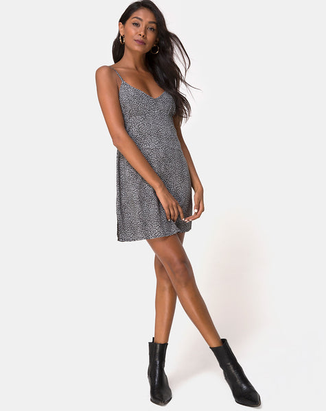 Rilia Slip Dress in Ditsy Leopard Grey by Motel