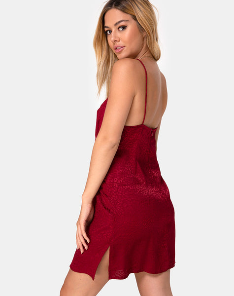 Rilia Slip Dress in Satin Cheetah Raspberry