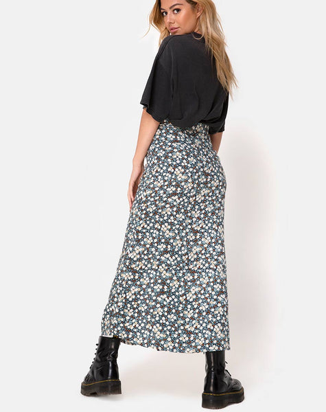 Rima Skirt in Floral Field Navy by Motel