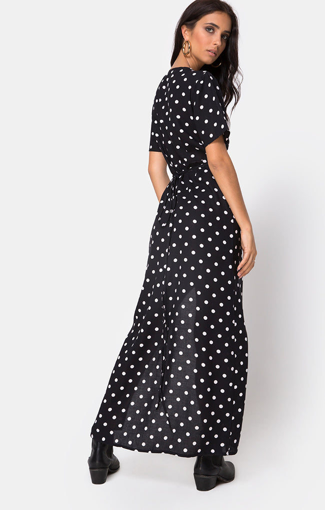 Riva Dress in Medium Polka B/W By Motel