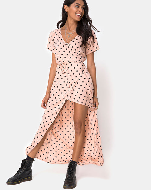 Riva Dress in New Polka Nude Black by Motel