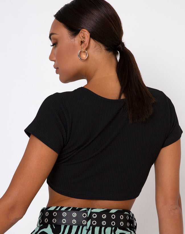 Rivera Crop Top in Rib Black