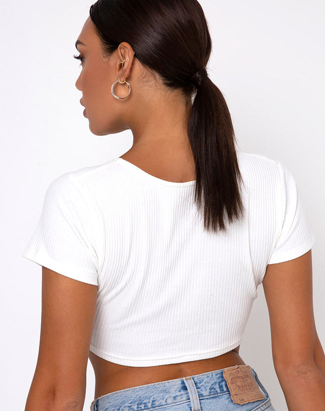 Rivera Crop Top in Rib Ivory