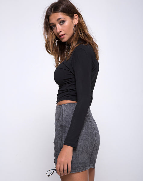 Roji Mini Skirt in Black Wash by Motel