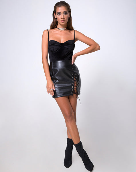 Roji Mini Skirt in Pu Black by Motel