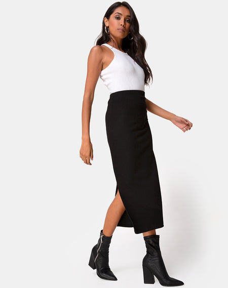 Pyra Midi Skirt in PU Stone by Motel