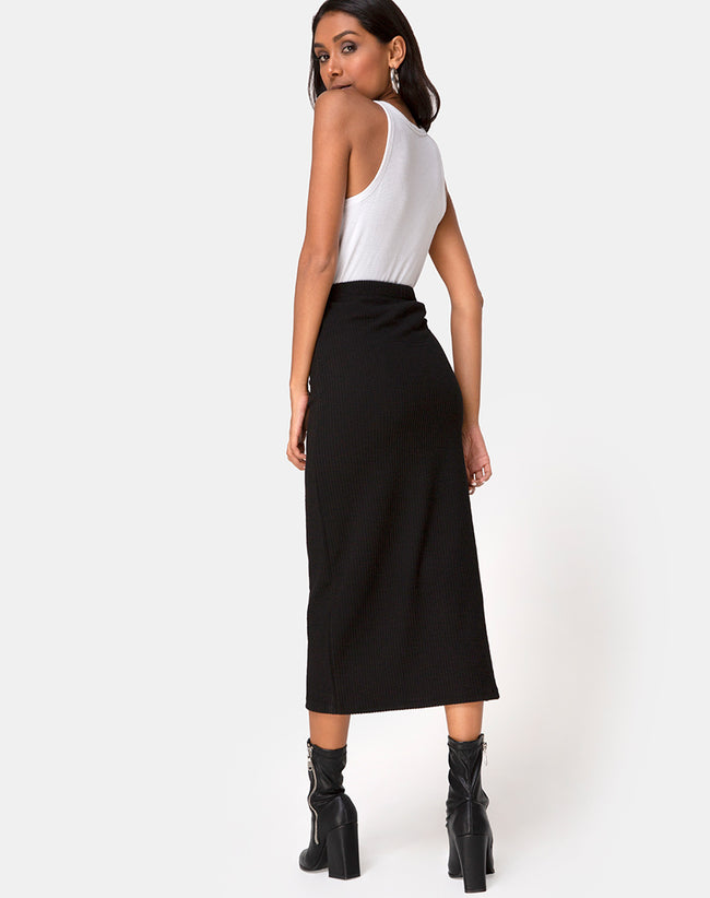Rollie Midi Skirt in Jumbo Rib Black by Motel