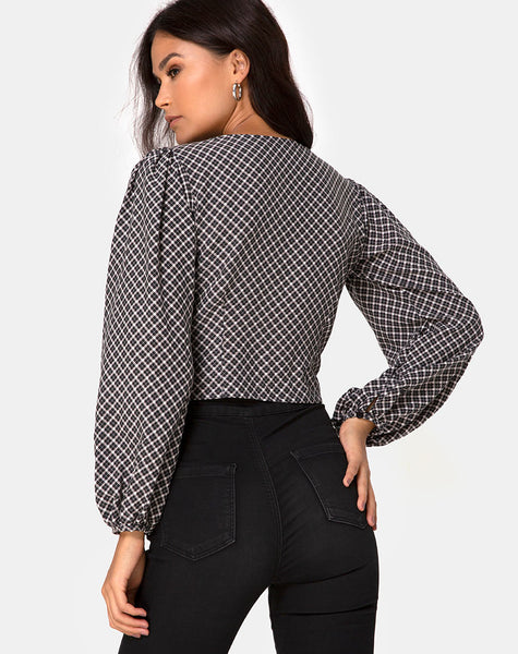 Roma Long Sleeve Top in Check It Out Black by Motel
