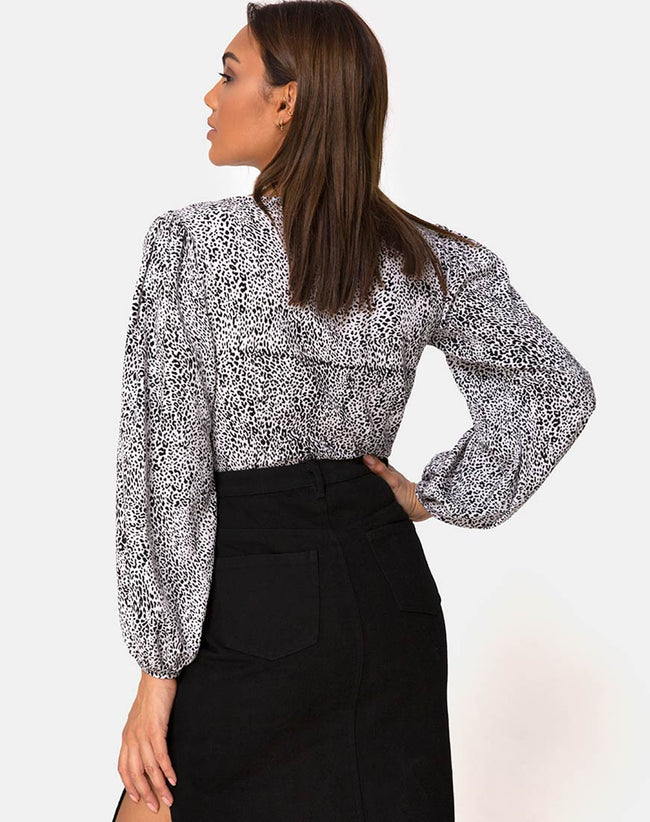 Roma Long Sleeve Top in Leo Spot in Black and White by Motel